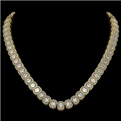 40.3 CTW Emerald Cut Diamond Designer Necklace 18K Yellow Gold - REF-8402X2T - 42787