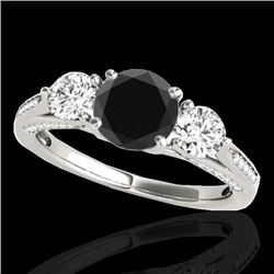 1.75 CTW Certified VS Black Diamond 3 Stone Ring 10K White Gold - REF-107T5M - 35352