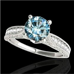 1.21 CTW Si Certified Blue Diamond Solitaire Antique Ring 10K White Gold - REF-161M8H - 34725