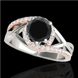 1.55 CTW Certified VS Black Diamond Bypass Solitaire Ring 10K White & Rose Gold - REF-74Y2K - 35086