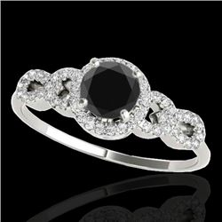 1.33 CTW Certified VS Black Diamond Solitaire Ring 10K White Gold - REF-59A5X - 35316