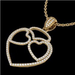 1.20 CTW Micro Pave VS/SI Diamond Designer Heart Necklace 14K Yellow Gold - REF-110N9Y - 22548