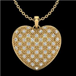 1.0 Designer CTW Micro Pave VS/SI Diamond Heart Necklace 14K Yellow Gold - REF-87W3F - 20491