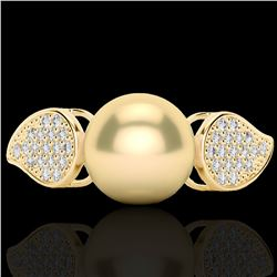 0.27 CTW Micro Pave VS/SI Diamond & Golden Pearl Designer Ring 18K Yellow Gold - REF-45K3W - 22641