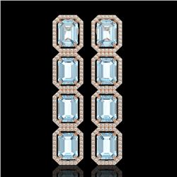 19.49 CTW Aquamarine & Diamond Halo Earrings 10K Rose Gold - REF-323T5M - 41595