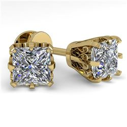 1.0 CTW VS/SI Princess Diamond Stud Solitaire Earrings 18K Yellow Gold - REF-178T2M - 35674