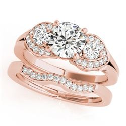 1.3 CTW Certified VS/SI Diamond 3 Stone 2Pc Set Solitaire Wedding 14K Rose Gold - REF-209T3M - 32013