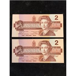 1986 BANK OF CANADA $2 NOTES.2 IN SEQUENCE!