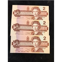 1986 BANK OF CANADA $2 NOTES.3  IN SEQUENCE!