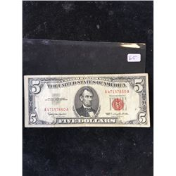1963 USA $5 NOTE.RED SEAL