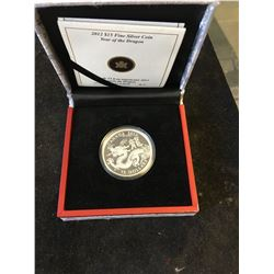 2012 CANADA $15 YEAR OF THE DRAGON FINE SILVER COIN