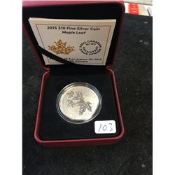 2015 CANADA $10 FINE SILVER COIN.MAPLE LEAF