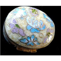 Vintage Chinese Floral pattern Beige Oval Cloisonne box