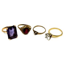 Lot of Four Antique & Vintage Gold & Stone Rings