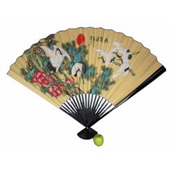 Large Size Decoractive Chinese Cranes Fan