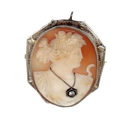 Antique 14kt White Gold Victorian Cameo Brooch