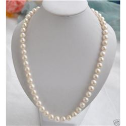 """8-9mm Natural White Akoya Pearl 18"""" Necklace"""