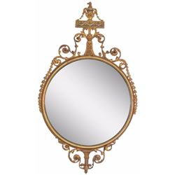 French Style Gilt Carved Round Mirror