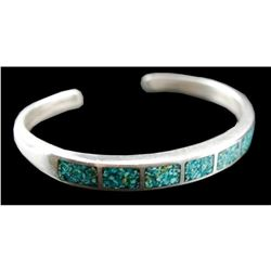 Vintage Sterling & Inlaid Turquoise Cuff Bracelet