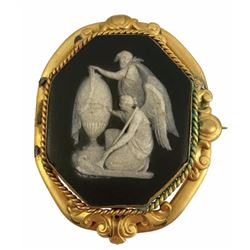 19thc Victorian Black Wedgewood Mourning Cameo Gold Brooch