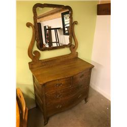 MAPLE DRESSER & MIRROR CURVED FRONT