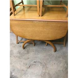 DROP LEAF TABLE & 4 CHAIRS, ART DECO