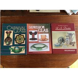 3 BOOKS ON GLASS WARE