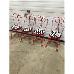 SET OF 4 CHILD'S ICE CREAM PARLOR CHAIRS, RARE FIND