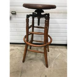 GENERAL STORE OAK SWIVEL STOOL EARLY 1900s