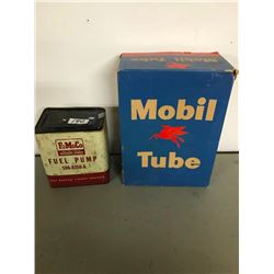 MOBIL TUBE, ORIG. BOX & FORD FUEL PUMP TIN
