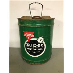 CONOCO MOTOR OIL PAIL 5 GAL. HOUSTON, TEXAS