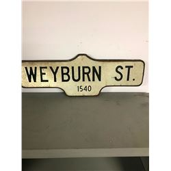 2 SIDED TIN STREET SIGN, WEYBURN STREET OLD ORIGINAL
