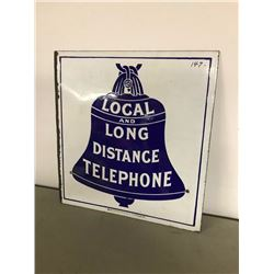 PORCELAIN BELL TELEPHONE 2 SIDED SIGN, VINTAGE