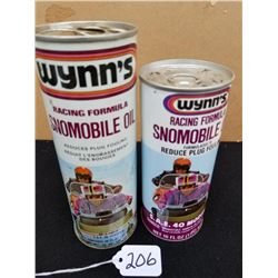 2 WYNN'S SNOWMOBILE OIL TINS 16 & 20 OZ.