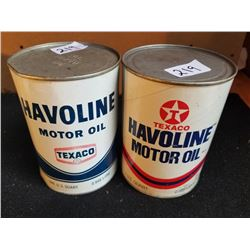 2 DIFFERENT HAVOLINE MOTOR OIL QUARTS - FULL