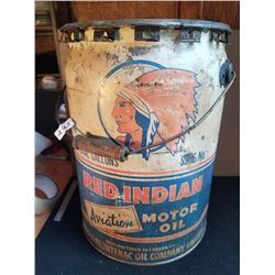 RED INDIAN AVIATION MOTOR OIL 5 GAL. PAIL, RARE SIZE