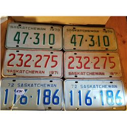 1970 - 71 - 72 SASK LICENSE PLATES - 3 MATCHING PAIRS