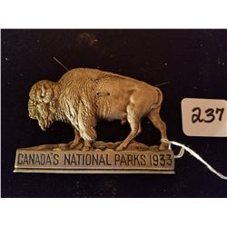 1933 NATIONAL PARK PASS BUFFALO - UNUSED