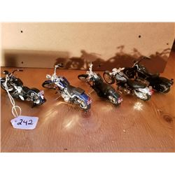 5 BLACK SCALE MODEL MOTORCYCLES - MOSTLY HARLEY, - 5""