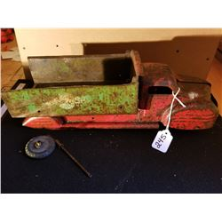 PRESSED STEEL DUMP TRUCK AS FOUND CONDITION - ORIGINAL PAINT 16""