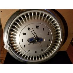 FORD HUB CAP MADE INTO CLOCK WORKS
