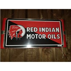 "RED INDIAN LIGHT UP SIGN - ORIGINAL CASE - NEW FACE - WORKING 25""X13"""