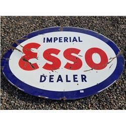 IMPERIAL ESSO DEALER DOUBLE SIDED PORCELAIN SIGN 3'X5'