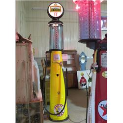 VINTAGE G&B VISIBLE GAS PUMP RESTORED TO WHITE ROSE