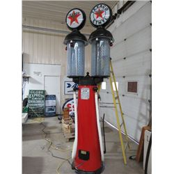 VINTAGE CLEAR VISION DOUBLE VISIBLE GAS PUMP RESTORED TO TEXACO