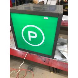 PARKING SIGN 4 SIDED, LIGHTS UP,