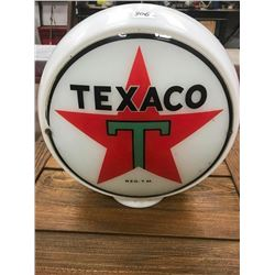 ORIGINAL MILK GLASS GLOBE BODY, 1 SIDE TEXACO