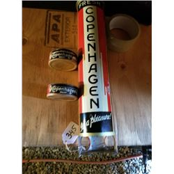 "15"" TIN COPENHAGEN SNUFF CAN DISPENSER & 2 TINS"