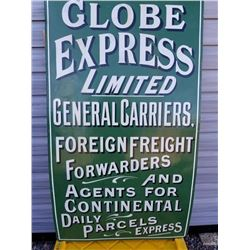 "LG. PORCELAIN GLOBE EXPRESS PARCELS SIGN 54""X31"""