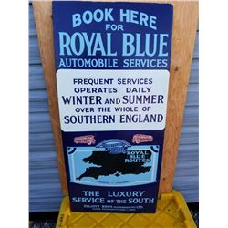 "LG. ROYAL BLUE AUTO SERVICE PORCELAIN SIGN 44""X20"" TOUCHED UP"
